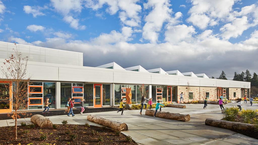 Arlington Elementary School in Tacoma, Washington; designed by Mahlum Architects. Credit: © Benjamin Benschneider