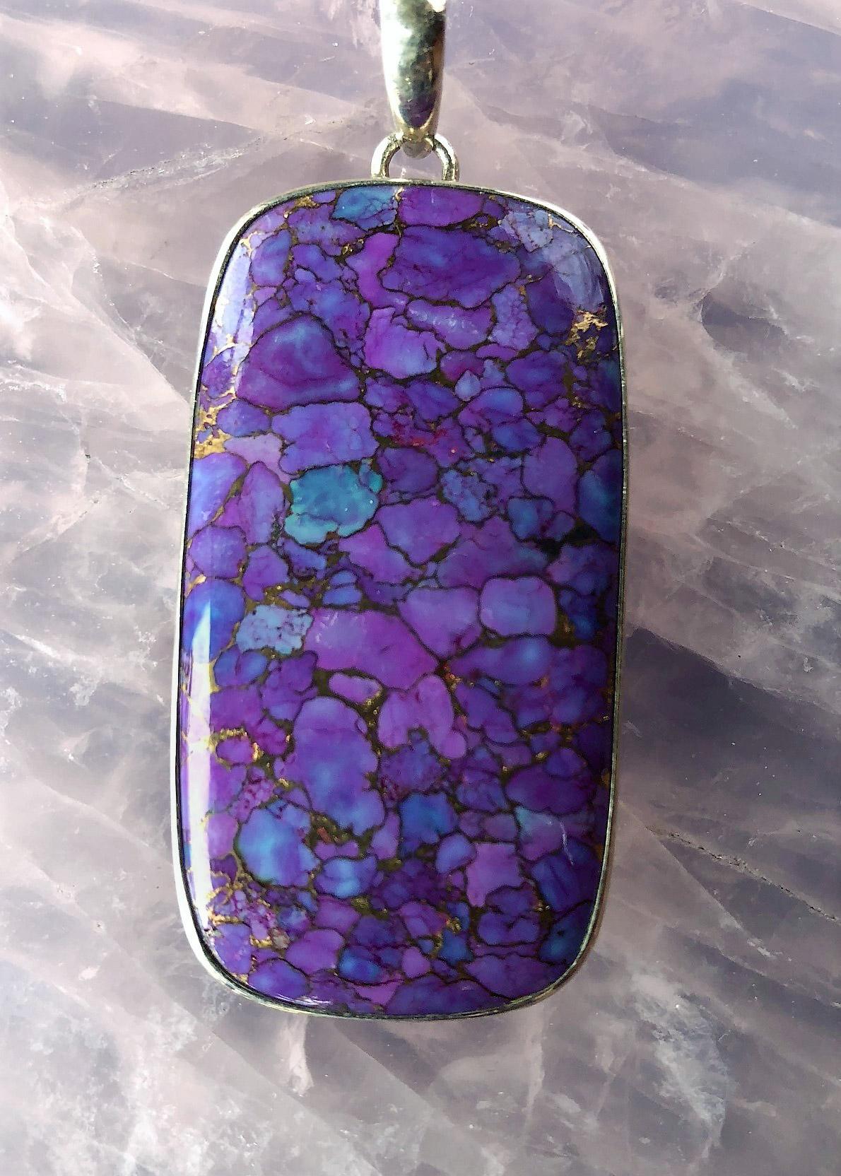 Purple Copper Turquoise : purple, copper, turquoise, Purple, Turquoise, W/Copper, Pendant, PrismsScape, Healing, Center