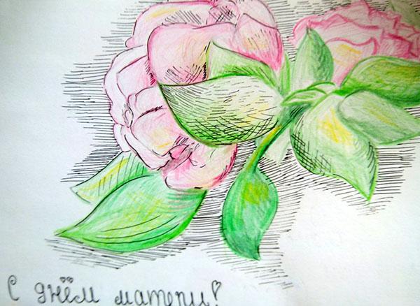 Открытка нарисованная своими руками маме, смешные поздравления