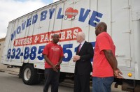 U.S. Senator John Cornyn meeting PEP Graduate Entrepreneur, Cedric Hornbuckle of Moved by Loved. (http://movedbylovellc.com/)