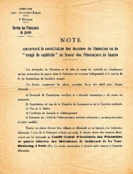 comité central des des prisonniers de guerre note-de préfecture Finistère