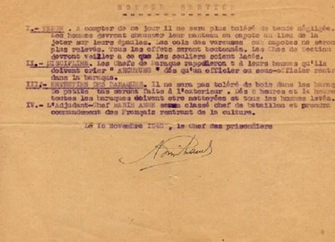 prisonniers de guerre français camp de mulsanne note de service du chef des prisonniers