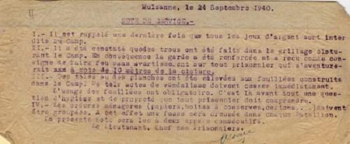 prisonniers de guerre français camp de prisonniers camp de Mulsanne note de service 2