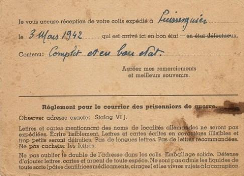 accusé envoi colis du prisonnier de guerre 1942