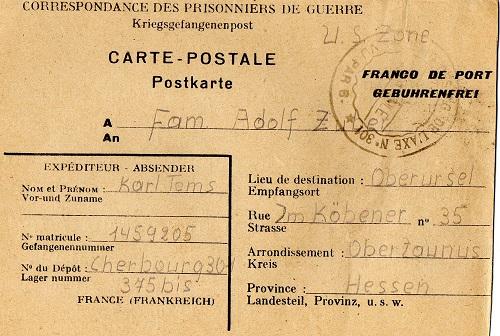 prisonnier de guerre allemand en France après 1945 Cherbourg 375 Bis