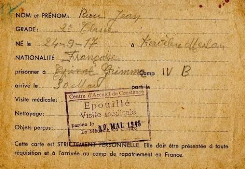 carte d'épouillage de prisonnier de guerre libéré mai 1945 stalag IV B centre d'accueil de constance