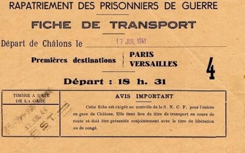 rapatriement des prisonniers de guerre fiche de transport 1941
