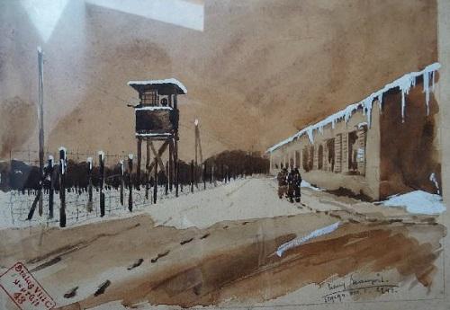 PRISONNIERS DE GUERRE peinture stalag VIII C
