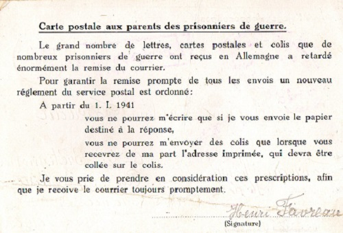 avertissement concernant la correspondance à partir du 01.01.1941