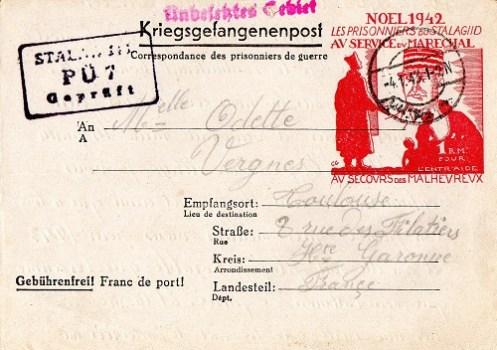 carte illustrée de stalag au service de Pétain stalag II D