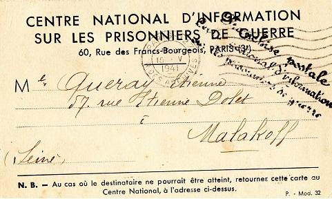 centre d'information des prisonniers de guerre