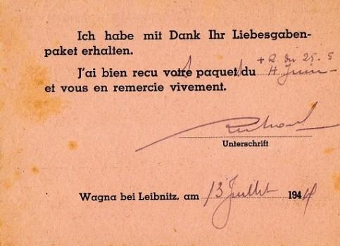 prisonniers de guerre recu de colis rose bilingue