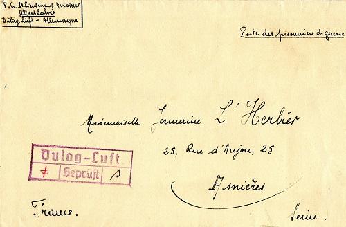 prisonniers de guerre lettre d'un dulagluft pour madame l'herbier germaine