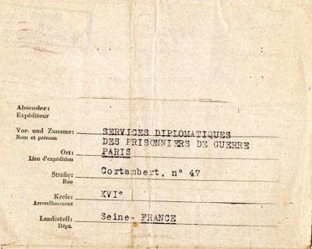 services diplomatiques des prisonniers de guerre à Paris