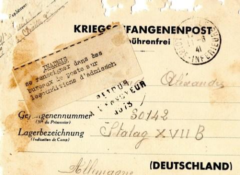 lettre mention inadmis aprés janvier 1941