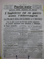 PARIS-SOIR  4 septembre 1939