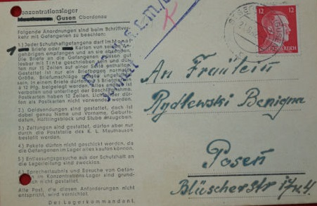 lettre de Mauthausen Gusen
