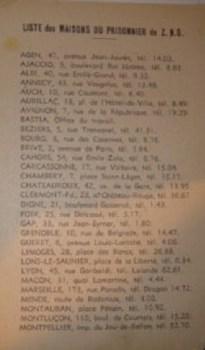 liste des maisons du prisonnier en zone libre