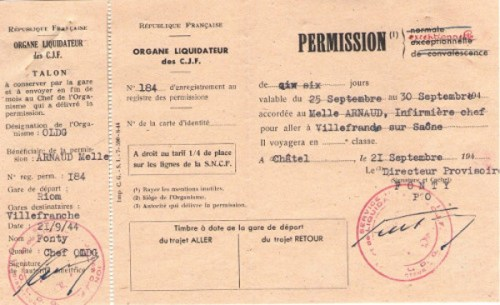permission du chantier de jeunesse commisariat d'auvergne