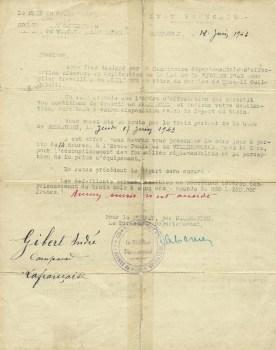 convocation sto pour prendre le train direction Allemagne 17 06 1943
