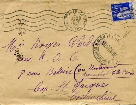 contrôle postal Indochine