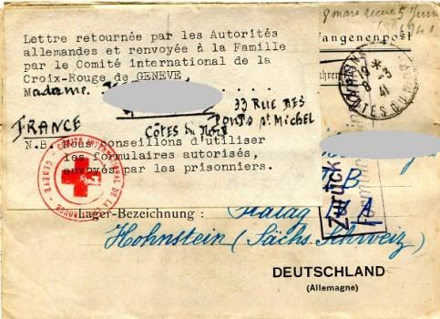 prisonniers de guerre lettre retournée non conforme