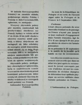 affiche de recensement des polonais en France