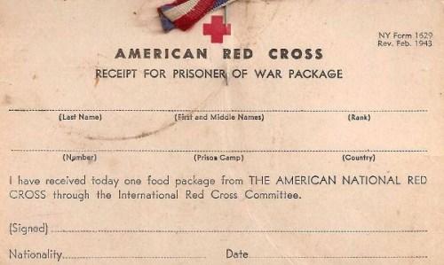 croix rouge u.s reçu de colis
