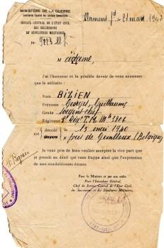 décès d'un soldat français à Gembloux (Belgique)