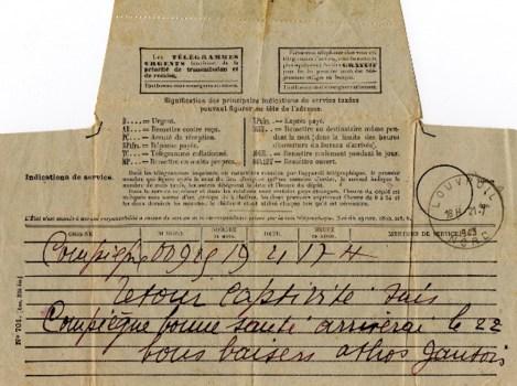 télégramme retour de captivité 1943