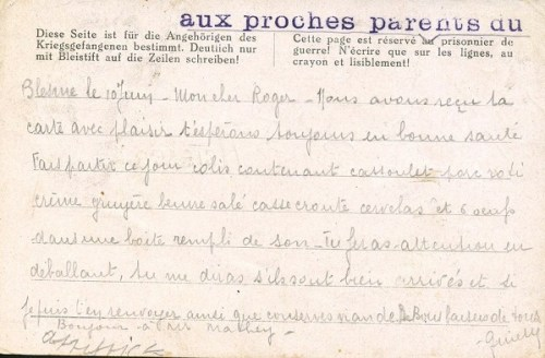 mention spéciale sur courrier prisonniers de guerre