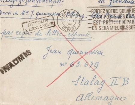 mention inadmis sur courrier prisonnier de guerre