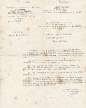 réponse à une demande de libération 1941