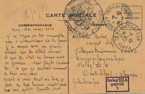 prisonnier de guerre stalag XII A 23 04 1940