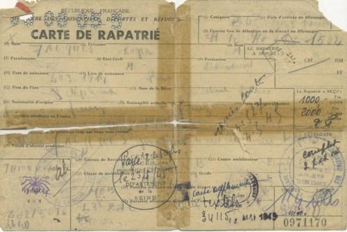 Carte de rapatrié
