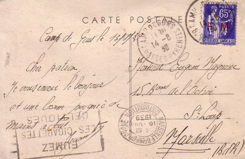 13 08 1939 camp de Gurs