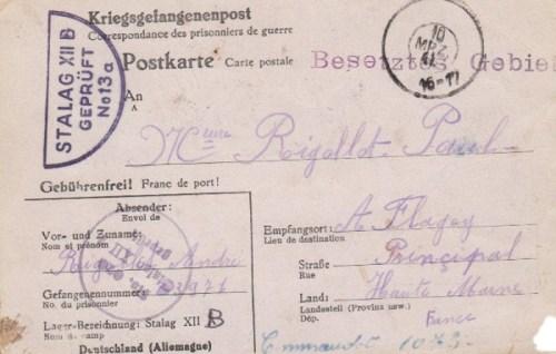 16 03 1941 stalag XII B recto