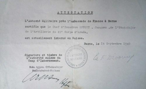 14 09 1940 attestation d'internement en Suisse