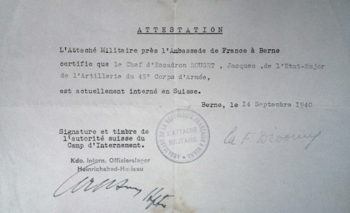 14 09 1940 attestation d'internement en Suisse