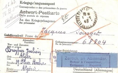 01 06 1943 prisonnier de guerre rapatrié stalag IV B