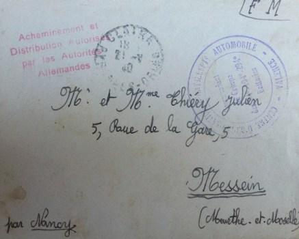 note sur distribution du courrier par autorités allemandes