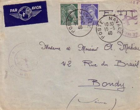 15 05 1940 lettre d'Ajaccio naval