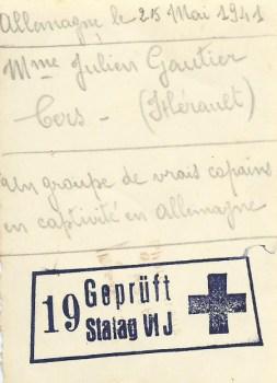 prisonnier de guerre Gautier Julien stalag VIJ 25 05 1941