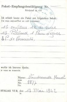 30 05 1942 récépissé d'envoi de colis pour le stalag VIB