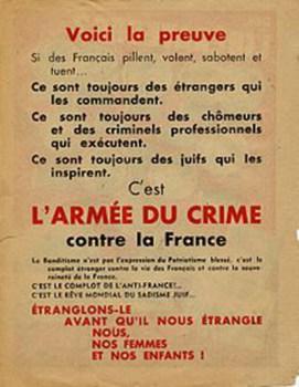verso du tract de affiche rouge 1944