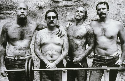 Four Convicts, Folsom Prison, CA. Anthony Friedkin. 1991. Silver Print. 16 x 20 inches.