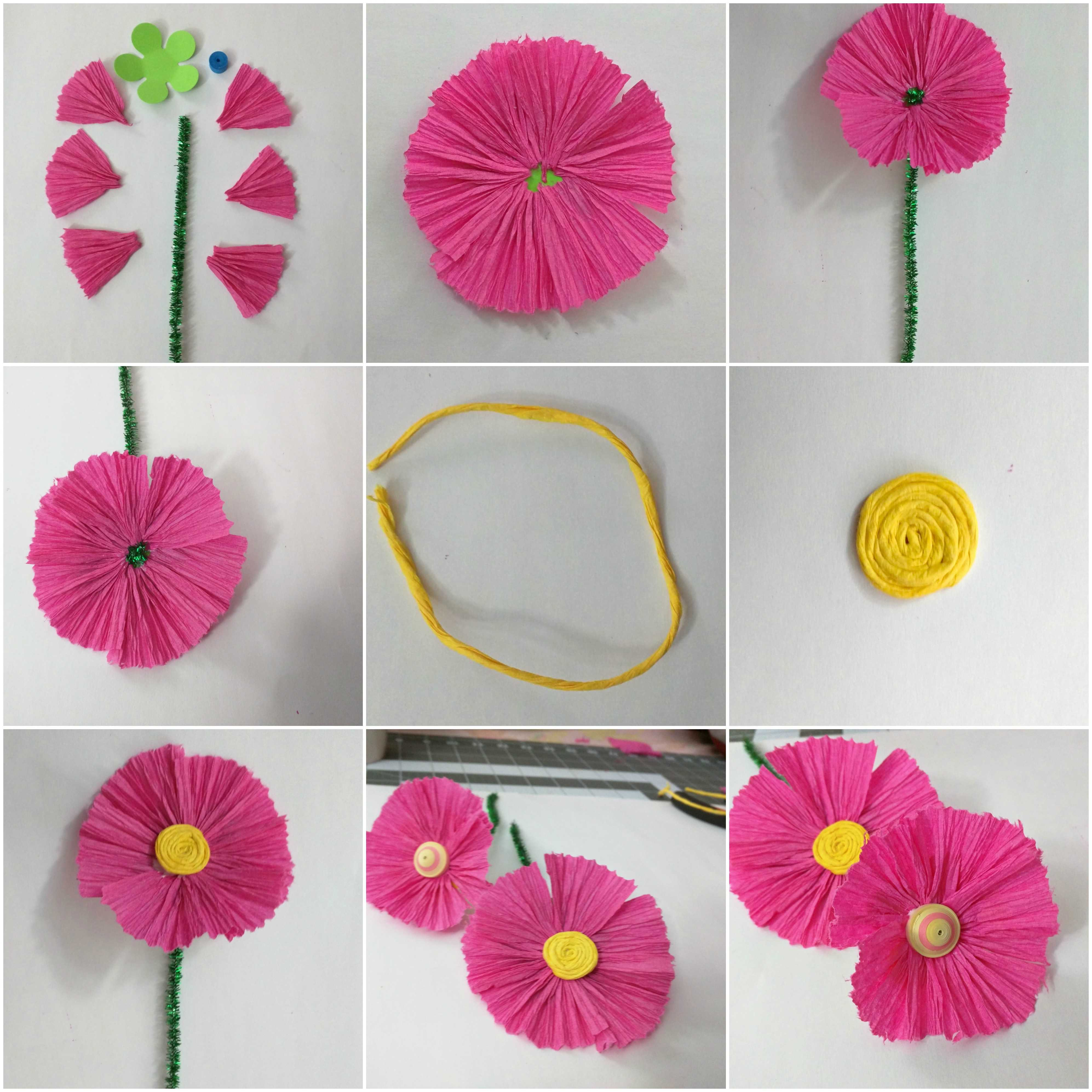 Crepe paper wild flower for Crepe paper wall flowers