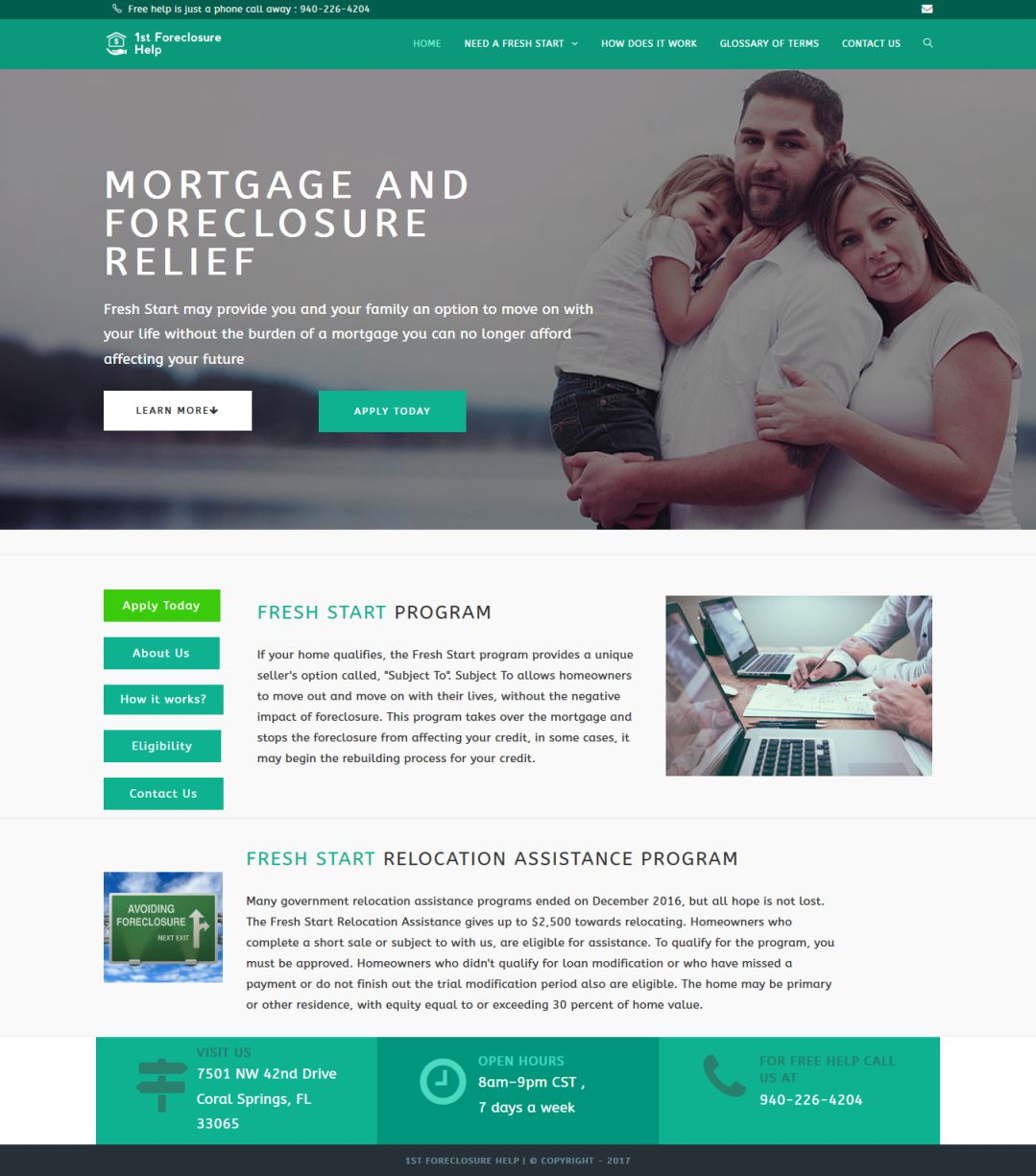 1st Foreclosure Help - Website Development