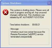 System shutdown alert caused by worms
