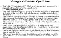 Useful advanced operators for Google search